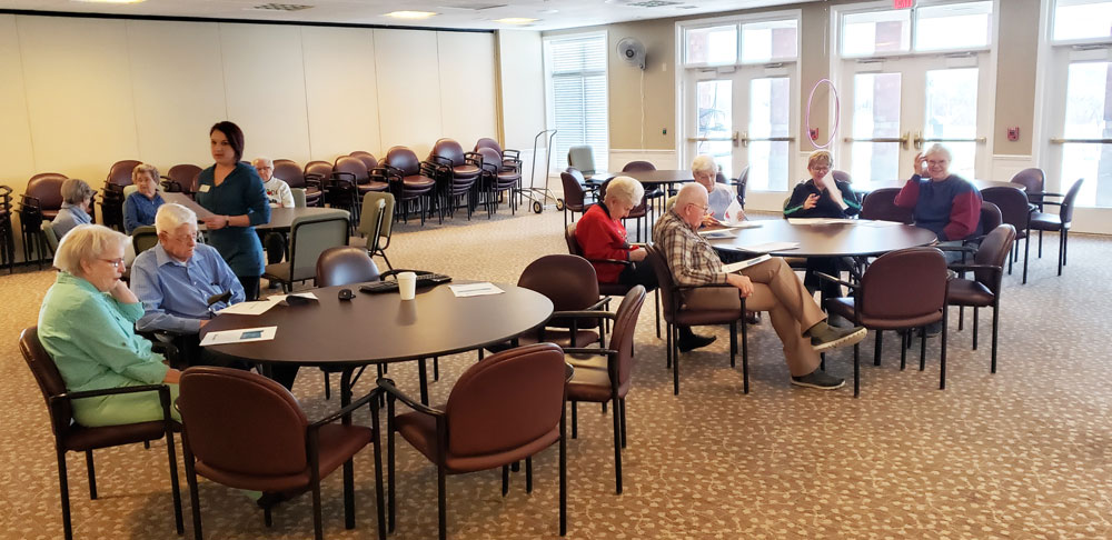 The residents at Pacific Springs Village participate in a Live Well, Get Fit presentation