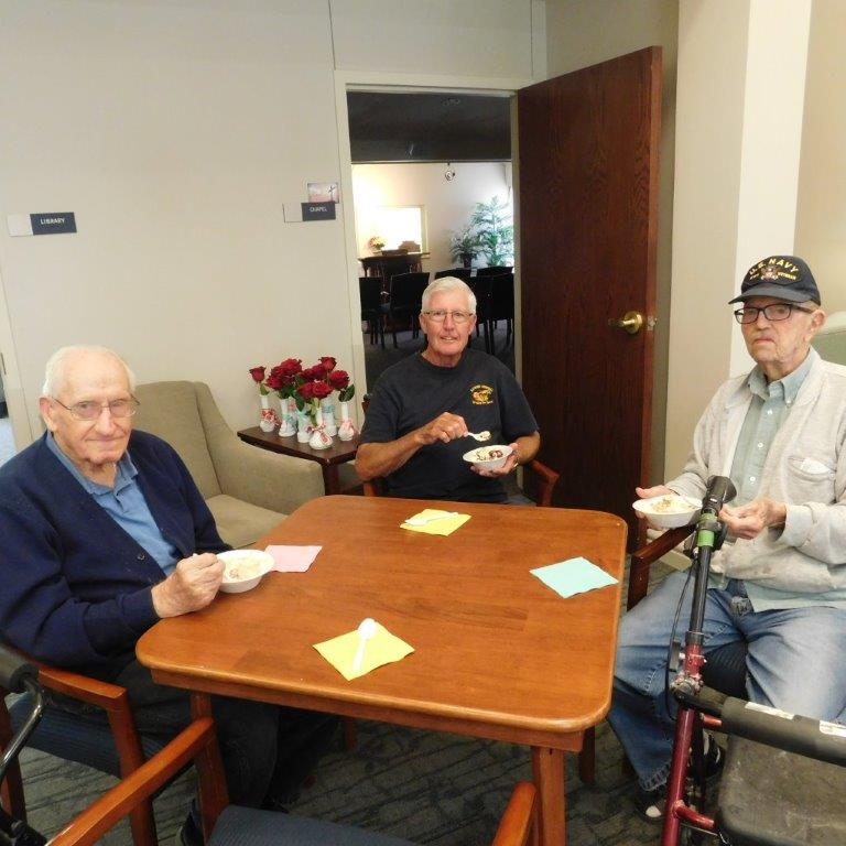 Residents eat banana splits at Clark Jeary senior living community in Lincoln, Nebraska