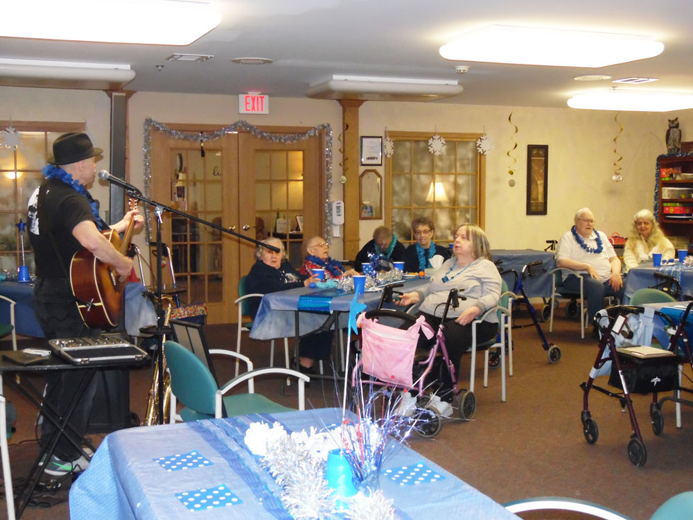 The Immanuel Courtyard residents enjoy a blues music at one of their socials at the community
