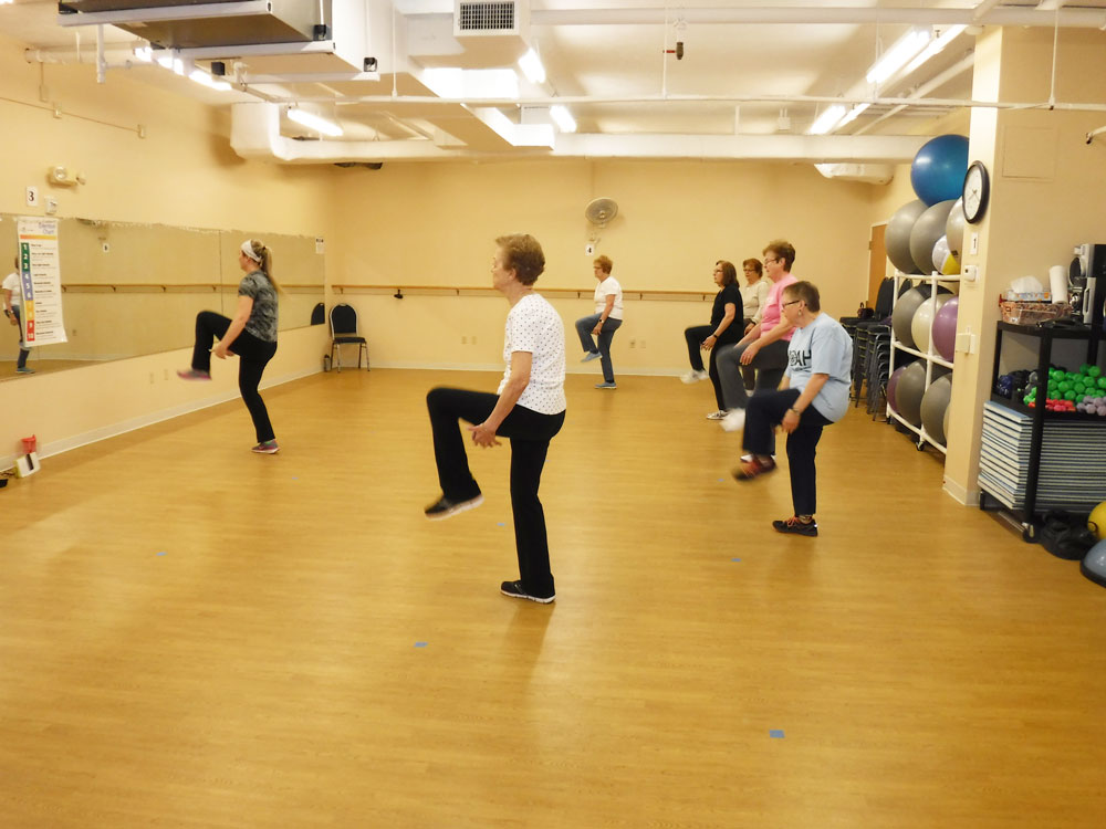 Immanuel Village Agewell teaches a Zumba class to members