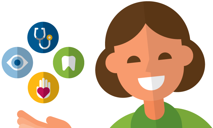 Smiling woman holding icons for wellness